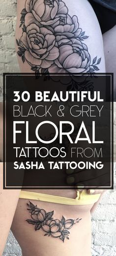 Black & Grey Ink Floral Tattoo Designs