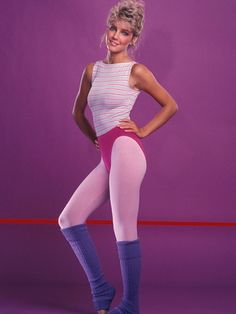 Actress Heather Locklear is showing off some of the best of the '80s – exercise wear. Jane Fonda can be attributed for starting it all, and if you ever miss this look you can always visit an '80s party at a sorority.