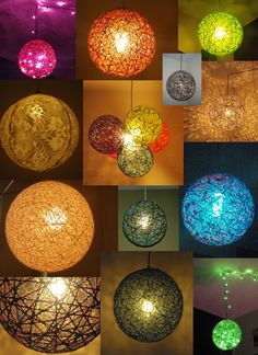 Balloon/ball + string + fabric stiffener + battery operated LED light/bulb with plug-in cord = hanging sting light ball.