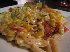 Louisiana Chicken Pasta like Cheesecake Factory--MY FAVE!! Better w/ bow tie pasta!