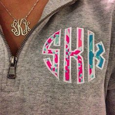 Lilly Pattern Monogrammed Quarter Zip Sweatshirt
