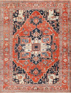 View this breathtaking large antique Persian Serapi rug #49595 that is available for sale at Nazmiyal Antique Rugs in NYC.