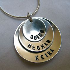 Personalized Necklace in brushed sterling silver - elegance with a satin finish. via Etsy.   #hand_stamped #jewelry