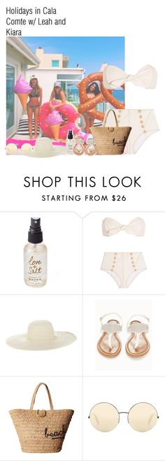 """Holidays in Cala Comte w/ Leah and Kiara"" by lauraluquez ❤ liked on Polyvore featuring Olivine, Lisa Marie Fernandez, Jennifer Ouellette, Olivia Miller, Hat Attack and Victoria Beckham"