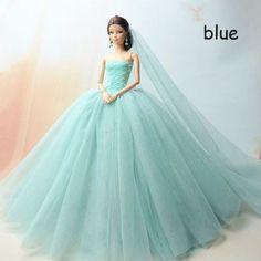 Novo na Moda De Renda Com Vestido De Festa Princesa Realeza Vestido De Noiva Brinquedo Para Boneca Barbie