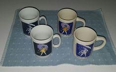 """LOT OF 4 VTG EUC Morton Salt Girl """"When It Rains It Pours"""" Coffee Cups Tea Mugs #MORTONSALT"""