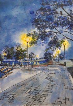 Akvarell alapon tus rajz. Berettyóújfalu, Népliget utca, tó. Utca, Sidewalk, Side Walkway, Walkway, Walkways, Pavement