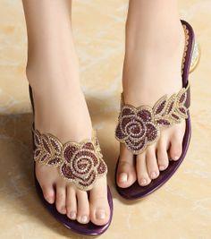 Flip Flops For Women Free Shipping 2013Summer Popular shoes Genuine Leather Elegant Handmade Drill Shoes Rose Rhinestone Sandals $65.00