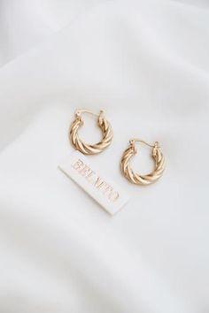Earrings   Belmto Beach Wedding Favors, Bridal Shower Favors, Wedding Souvenir, Mini Hoop Earrings, Gold Earrings, Keep Jewelry, Gold Jewelry, Jewellery, Portrait Photography Men