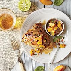Grilled Chicken Thighs with Peach-Lime Salsa Recipe | Cooking Light #myplate #protein #fruit