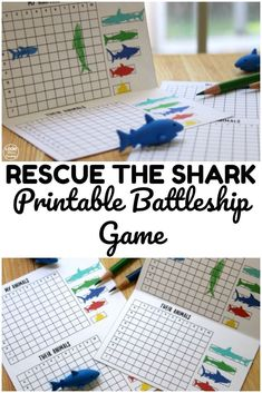 Use this printable rescue the shark game to help kids have fun playtime indoors! Shark Activities, Summer Activities For Kids, Indoor Activities, Shark Games For Kids, Learning Activities, Family Fun Games, Family Game Night, Ocean Games, Battleship Game