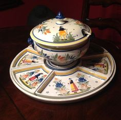 Quimper Lazy Susan Supper Service Faiance France 17 inches Round   eBay