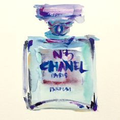 Chanel Art by Karen Lee ORIGINAL Chanel Perfume No.5 Watercolor Painting  One by LimbTrim a9cb7f9ad5429