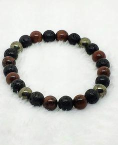 Mahogany Obsidian, Lava Stone and Pyrite