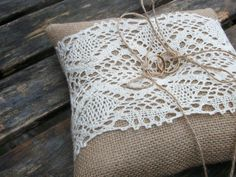 Just right for a barn ceremony. Rustic Burlap Ring Bearer Pillow with Ecru Cotton by WeddingLab