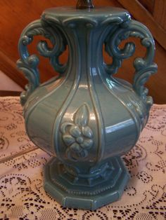 I am offering this fanciful turquoise table lamp, ceramic painted a wonderful color of turquoise/teal It has the original cloth cord, which