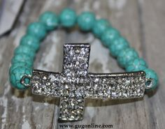 Turquoise Bead Bracelet with Silver Crystal Cross  $14.95  www.gugonline.com