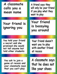 Teaching Social Skills: a lesson on problem solving with situations. Social Skills Lessons, Social Skills Activities, Teaching Social Skills, Counseling Activities, Social Emotional Learning, Coping Skills, Life Skills, Anti Bullying Activities, Bullying Lessons