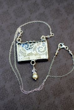 Soldered Lace Necklace Pendant Cream Floral by Robinsnestcreation1, $41.95