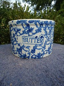 Beautiful Blue and White Spongeware Stoneware Butter Crock