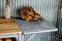 Old Typewriter Stand Gets an Industrial Style Makeover!  ~~via Knick of Time  @ knickoftimeinteriors.blogspot.com
