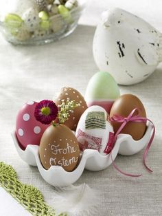 56 Inspirational Craft Ideas For Easter - Fashion Diva Design.  Love the vintage stamps used, but I think I'll use painted plastic eggs for reuse every Easter.