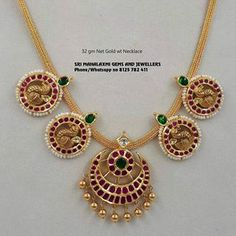 Get the best finishing in light wt necklaces. Presenting here is 32 gm Net Gold wt necklace. Visit us for best designs at most competitive prices. Real Gold Jewelry, Gold Jewelry Simple, Gold Jewellery Design, Indian Jewelry, Lotus Jewelry, Ruby Jewelry, Women's Jewelry, Pendant Jewelry, Diamond Jewelry