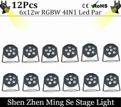 326.00$  Watch now - http://ali3vu.shopchina.info/go.php?t=32765575143 - 12units 6pcs 12w lamp beads 6x12W led Par lights RGBW 4in1 flat par led dmx512 disco lights professional stage dj equipment 326.00$ #buymethat