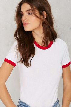 Glamorous Easy Baby Ringer Tee  $38.00. 'Cause sometimes a plain white tee's just a little too plain.
