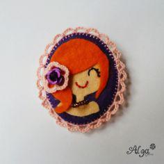 Brož portrét zrzka/Broche Red hair girl