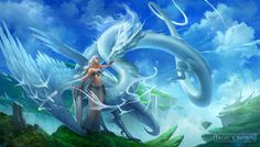 White Sky Dragon by sandara on DeviantArt Fantasy Creatures, Mythical Creatures, Dragons, Warrior King, Dragon Artwork, White Sky, Fantasy Dragon, Baby Dragon, Fantasy Artwork