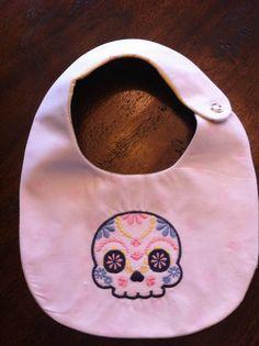 Day of the dead baby shower? Hummm.....  Handmade Sugar Skull Snap Bib Custom Colors by NestOfaGemini, $10.00