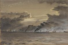 Walcheren : 1st November 1944 image: a seascape under a dark sky filled with smoke. In the distance there is a low coastline with a lighthouse. There are several landing craft moving towards the land, two have been hit and have large clouds of black smoke billowing from them.