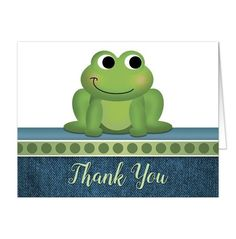 "I wanted to share with you these Cute Froggy Green Rustic Denim Thank You Cards? Do you like them?  | Unique and cute frog thank you cards with a rustic denim  design. Rustic frog thank you cards with an illustration of an adorable green froggy. This cute little frog stands on a horizontal blue and green polka dots stripe. ""Thank You"" is printed in a green script font over a blue denim pattern. These cards are perfect for everyday stationery and can also be used as thank you cards following…"