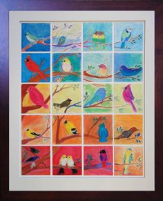 Pastel birds made by 4th graders at SunRidge Waldorf Charter School