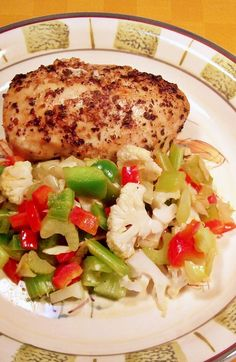 The most tender baked-lemon-chicken you will ever enjoy served with healthy stir-fry vegetables.