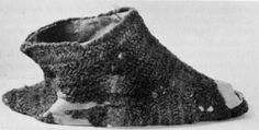 "12th century nalbound slipper from Beloziorsk- from Dubuisson,, Marguerite (1967) ""La bonneterie au Moyen Âge"" in The Bulletin of the Needle and Bobbin Club, vol. 50, nos. 1-2, p. 36 plate I"
