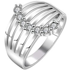 * Penny Deals * - BOHG Jewelry Womens 925 Sterling Silver Plated Cubic Zirconia CZ Eternity Filigree Ring Wedding Band >>> Check this awesome product by going to the link at the image.
