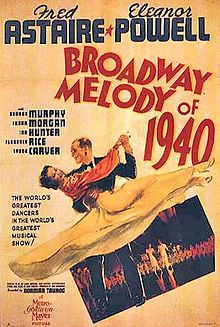 """Broadway Melody of 1940 starring Fred Astaire, Eleanor Powell and George Murphy. It features music by Cole Porter, including """"Begin the Beguine"""". 1940s Movies, Old Movies, Vintage Movies, Vintage Posters, Film Musical, Film Movie, Classic Movie Posters, Classic Movies, Broadway"""