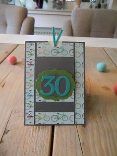 Stampin Up Geburtstagskarte zum 30. Geburtstag, Ziehkarte, Bigz Druckbuchstaben, Framelits Rahmen-Kollektion