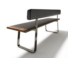 Metal, wood and leather dining benches