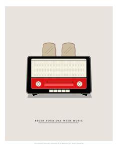 Begin your day with music  Radio por SenorBermudez en Etsy