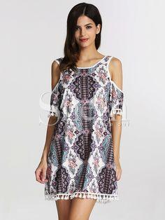 e3787388b899 Multicolor Off The Shoulder Vintage Print Tassel Dress 13.90 Robes Vintage