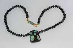 Black Tourmaline, black Spinel and Opal Pendant
