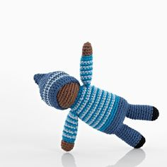 "Fair Trade! Birch is a cute little pixie rattle in blue. A hand crochet toy made in 100% cotton by the very talented artisans at Hathay Bunano.  	Materials: 100% cotton with 100% polyester fill 	Size: height approx 7.87"", width approx 2.36"" 	Care instructions: machine washable at 40 degrees and can be tumble dried on a low setting"