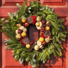 fruit, vegetable, and dried flower wreath by Cottage Days, via Flickr