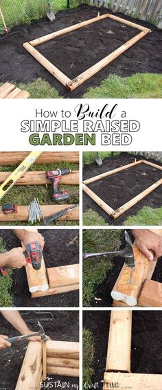 How to build simple raised garden beds for vegetables. An easy DIY project for making a vegetable or flower box in your backyard. #gardenbed #gardening #vegetablegarden