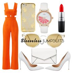 """""""#39 women party contest sleeveless jumpsuit"""" by ndreamcatcher on Polyvore featuring Karina Grimaldi, Gianvito Rossi, LULUS, Oliver Peoples, Kate Spade, MAC Cosmetics and sleevelessjumpsuits"""