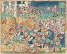 « Cy commence le livre du Roy Modus et de la royne Racio qui parle de deduis et de pestilence. » — Tome II  Date d'édition :  1401-1500  Bibliothèque de l'Arsenal, 3080  Folio 141v
