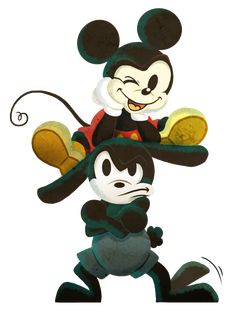 Brothers - Mickey and Oswald by Neverjay.deviantart.com on @DeviantArt